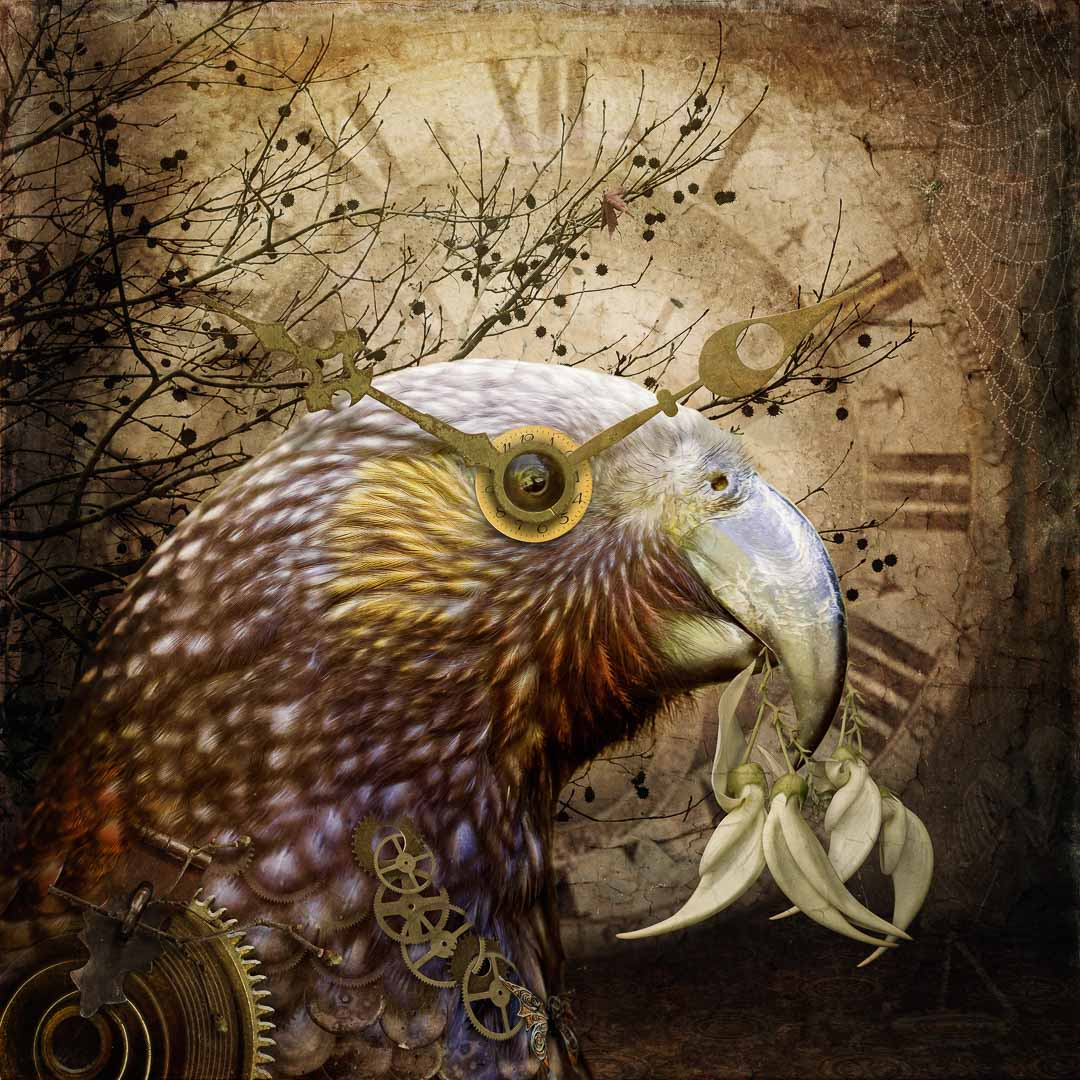 Photo-art of a steampunk parrot with flowers in her beak and a clock face